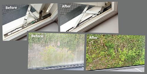 Before & After images of work undertaken by RDT Window & Door Repairs